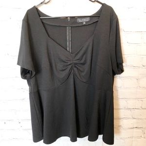 Eloquii black short sleeved peplum blouse
